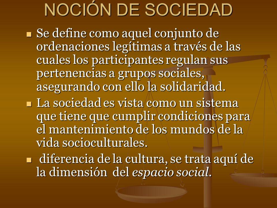 NOCIÓN DE SOCIEDAD Se define como aquel conjunto de ordenaciones legítimas a través de las cuales los participantes regulan sus pertenencias a grupos