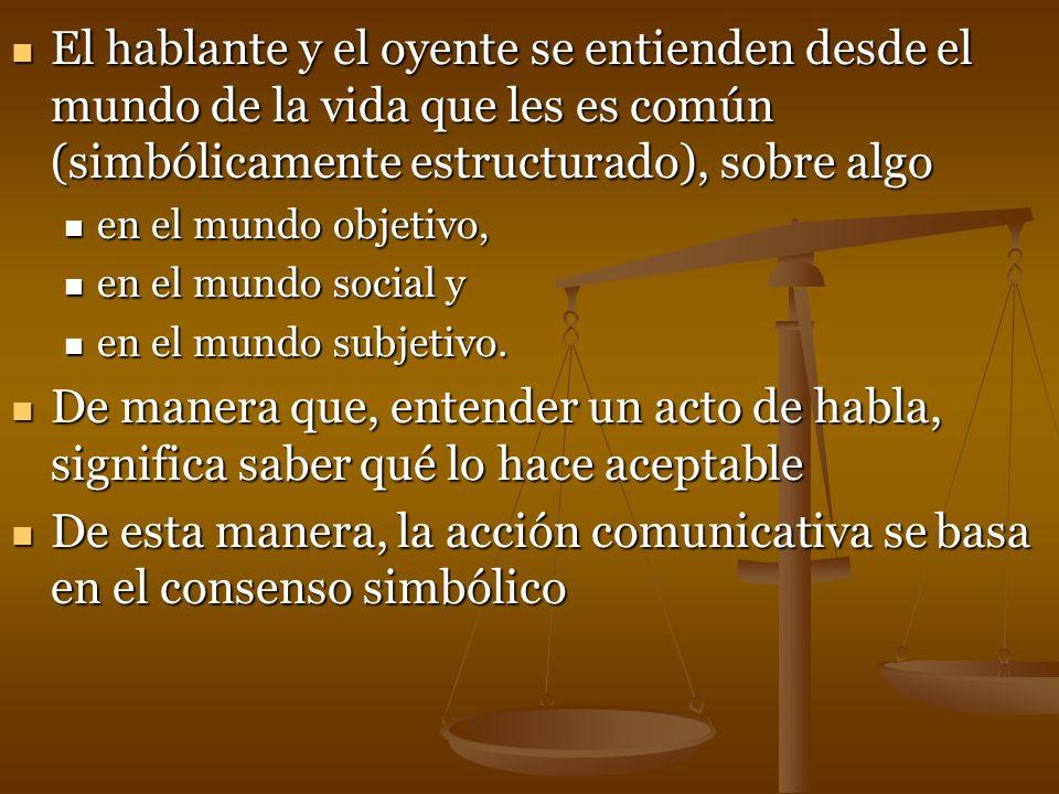 El hablante y el oyente se entienden desde el mundo de la vida que les es común (simbólicamente estructurado), sobre algo El hablante y el oyente se e
