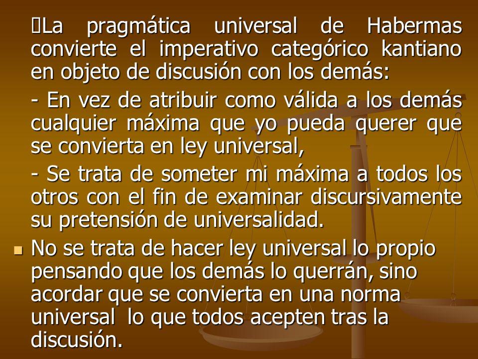 La pragmática universal de Habermas convierte el imperativo categórico kantiano en objeto de discusión con los demás: La pragmática universal de Haber
