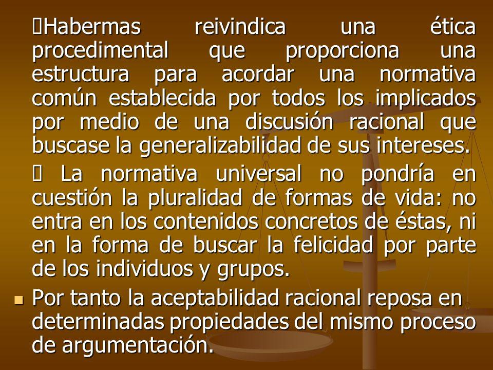 Habermas reivindica una ética procedimental que proporciona una estructura para acordar una normativa común establecida por todos los implicados por m