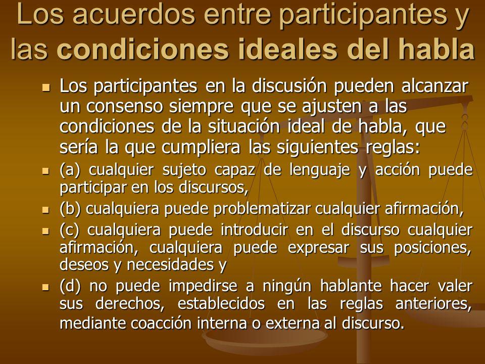 Los acuerdos entre participantes y las condiciones ideales del habla Los participantes en la discusión pueden alcanzar un consenso siempre que se ajus