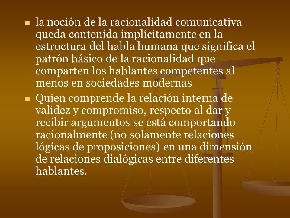 la noción de la racionalidad comunicativa queda contenida implícitamente en la estructura del habla humana que significa el patrón básico de la racion