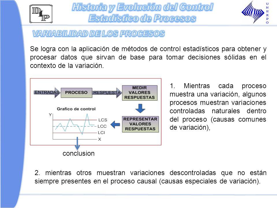 2. mientras otros muestran variaciones descontroladas que no están siempre presentes en el proceso causal (causas especiales de variación). Se logra c