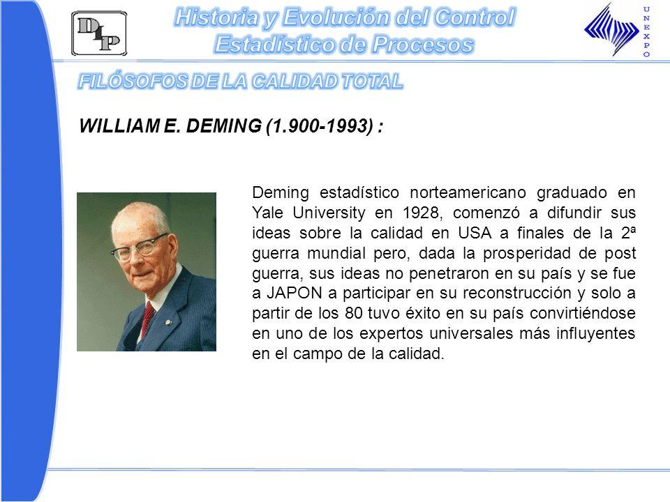 Deming estadístico norteamericano graduado en Yale University en 1928, comenzó a difundir sus ideas sobre la calidad en USA a finales de la 2ª guerra