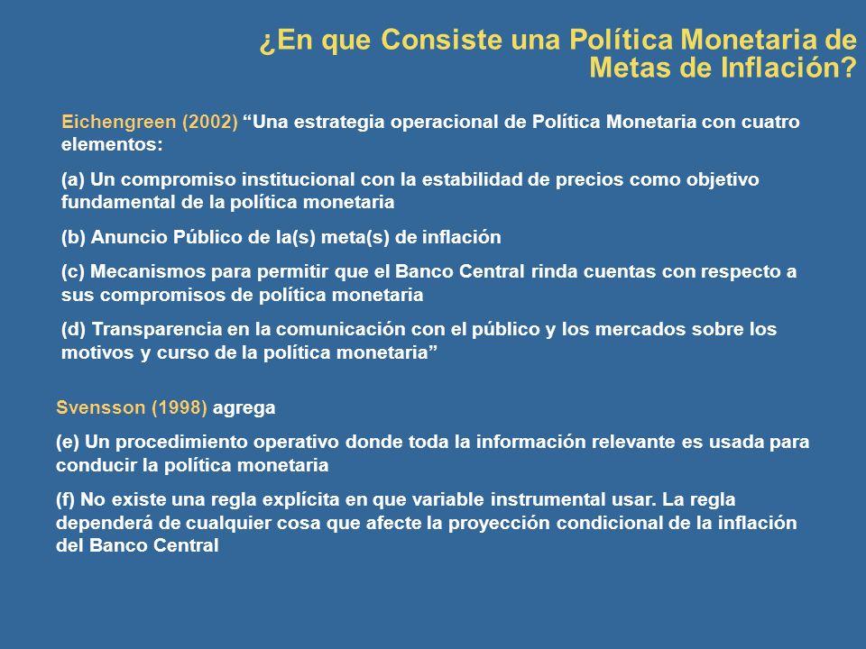 Eichengreen (2002) Una estrategia operacional de Política Monetaria con cuatro elementos: (a) Un compromiso institucional con la estabilidad de precio