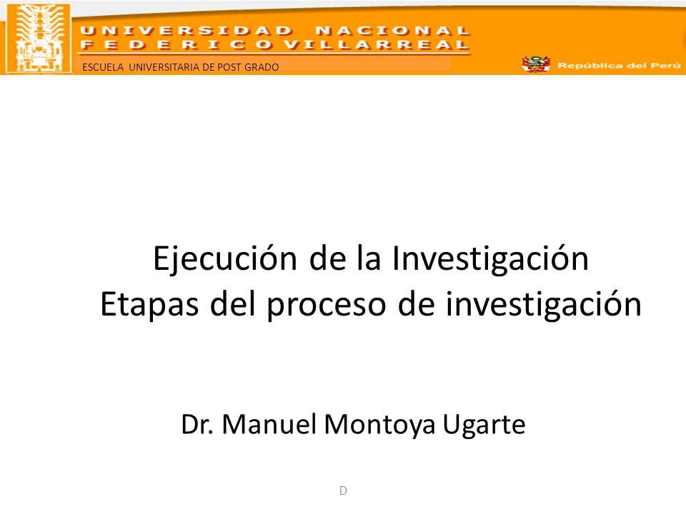 ESCUELA UNIVERSITARIA DE POST GRADO Ejecución de la Investigación Etapas del proceso de investigación Dr. Manuel Montoya Ugarte D