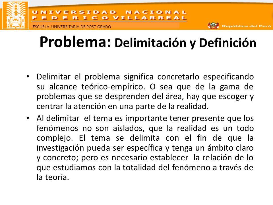 ESCUELA UNIVERSITARIA DE POST GRADO Problema: Delimitación y Definición Delimitar el problema significa concretarlo especificando su alcance teórico-e