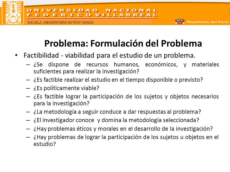 ESCUELA UNIVERSITARIA DE POST GRADO Problema: Formulación del Problema Factibilidad - viabilidad para el estudio de un problema. – ¿Se dispone de recu
