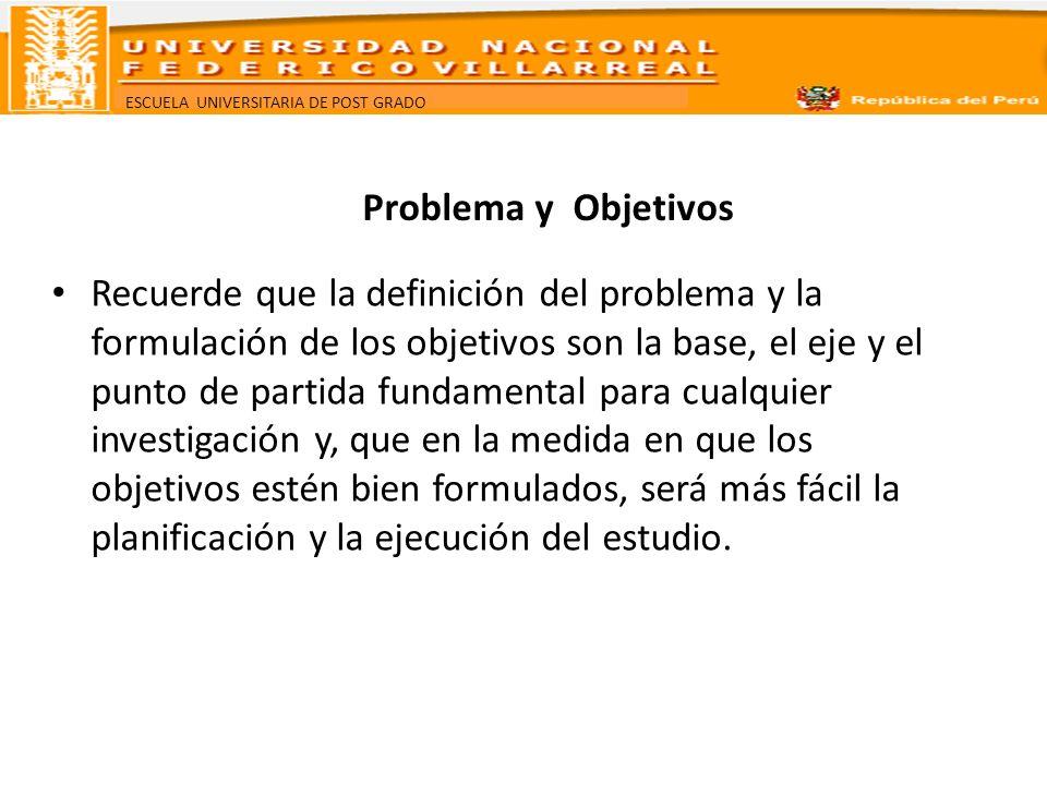 ESCUELA UNIVERSITARIA DE POST GRADO Problema y Objetivos Recuerde que la definición del problema y la formulación de los objetivos son la base, el eje