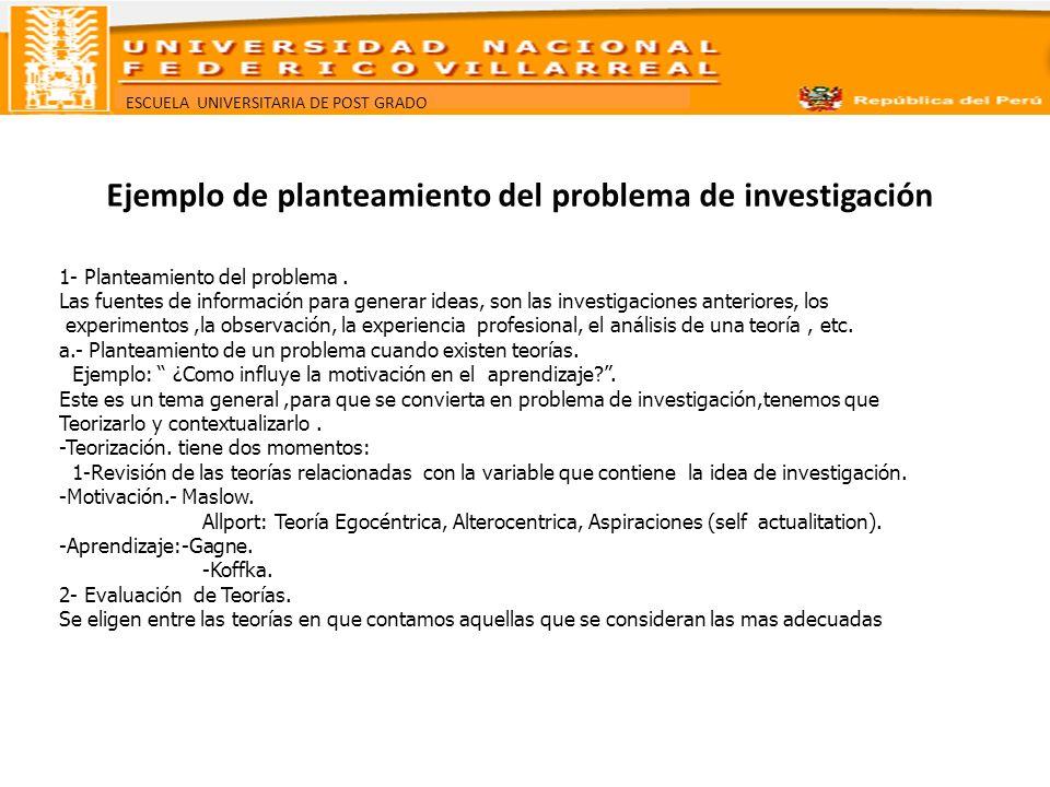 ESCUELA UNIVERSITARIA DE POST GRADO Ejemplo de planteamiento del problema de investigación 1- Planteamiento del problema. Las fuentes de información p