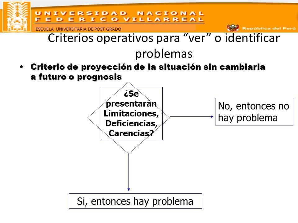 ESCUELA UNIVERSITARIA DE POST GRADO Criterios operativos para ver o identificar problemas Criterio de proyección de la situación sin cambiarla a futur