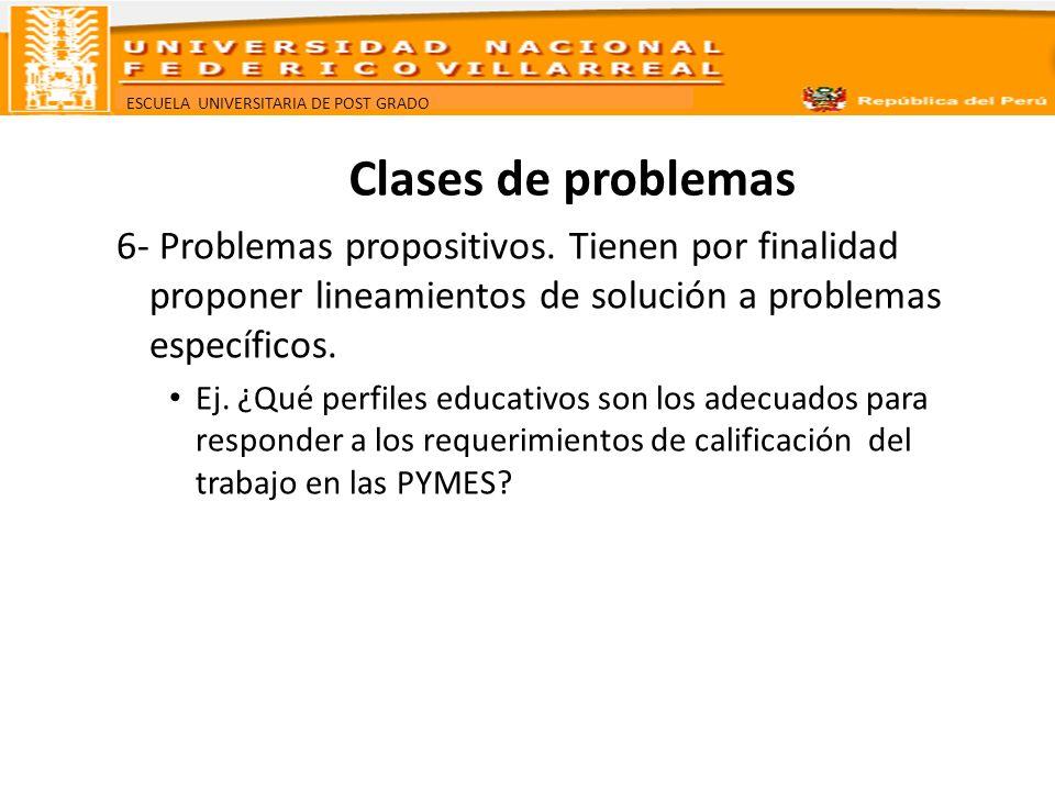 ESCUELA UNIVERSITARIA DE POST GRADO Clases de problemas 6- Problemas propositivos. Tienen por finalidad proponer lineamientos de solución a problemas
