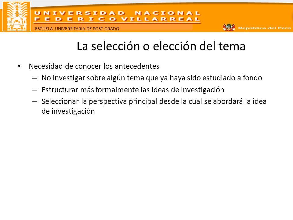 ESCUELA UNIVERSITARIA DE POST GRADO Contextualización.