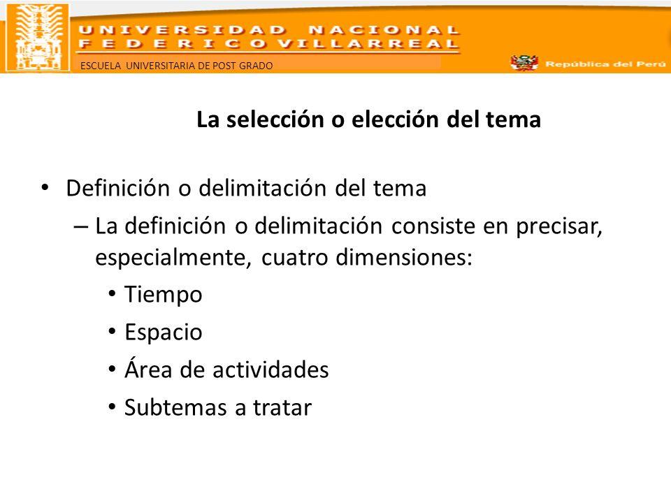 ESCUELA UNIVERSITARIA DE POST GRADO La selección o elección del tema Definición o delimitación del tema – La definición o delimitación consiste en pre