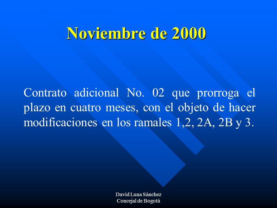 David Luna Sánchez Concejal de Bogotá Noviembre de 2000 Contrato adicional No. 02 que prorroga el plazo en cuatro meses, con el objeto de hacer modifi