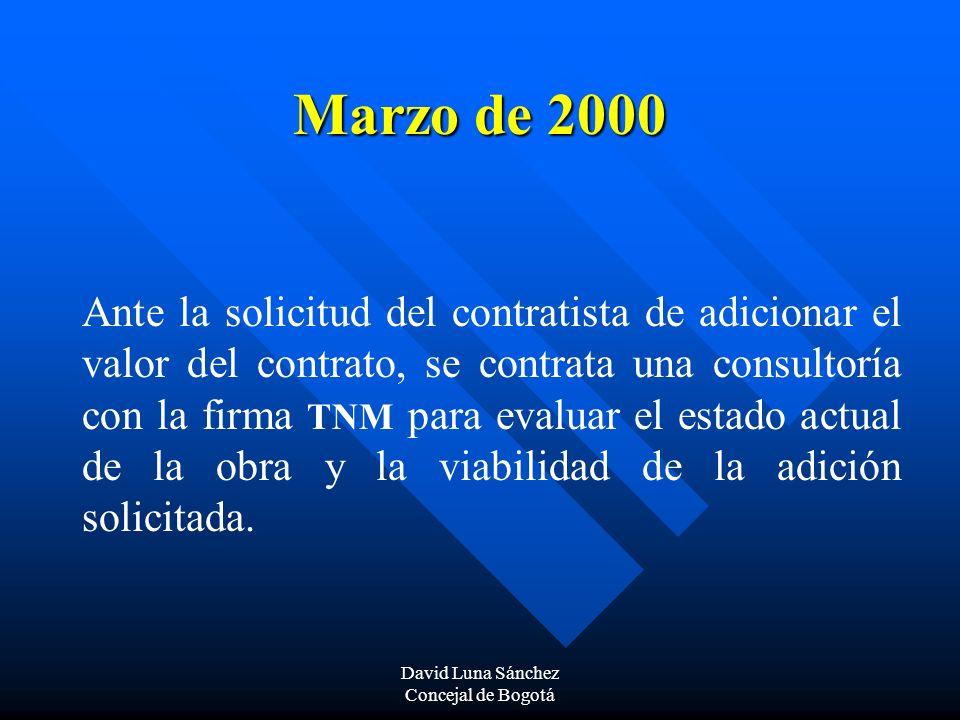 David Luna Sánchez Concejal de Bogotá Marzo de 2000 Ante la solicitud del contratista de adicionar el valor del contrato, se contrata una consultoría