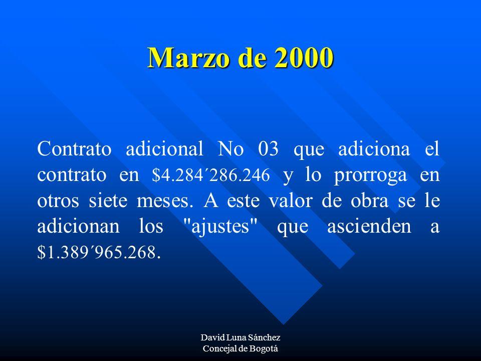 David Luna Sánchez Concejal de Bogotá Marzo de 2000 Contrato adicional No 03 que adiciona el contrato en $4.284´286.246 y lo prorroga en otros siete m
