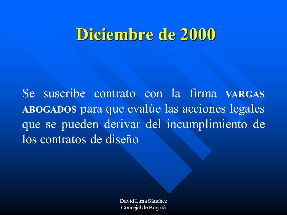 David Luna Sánchez Concejal de Bogotá Diciembre de 2000 Se suscribe contrato con la firma VARGAS ABOGADOS para que evalúe las acciones legales que se
