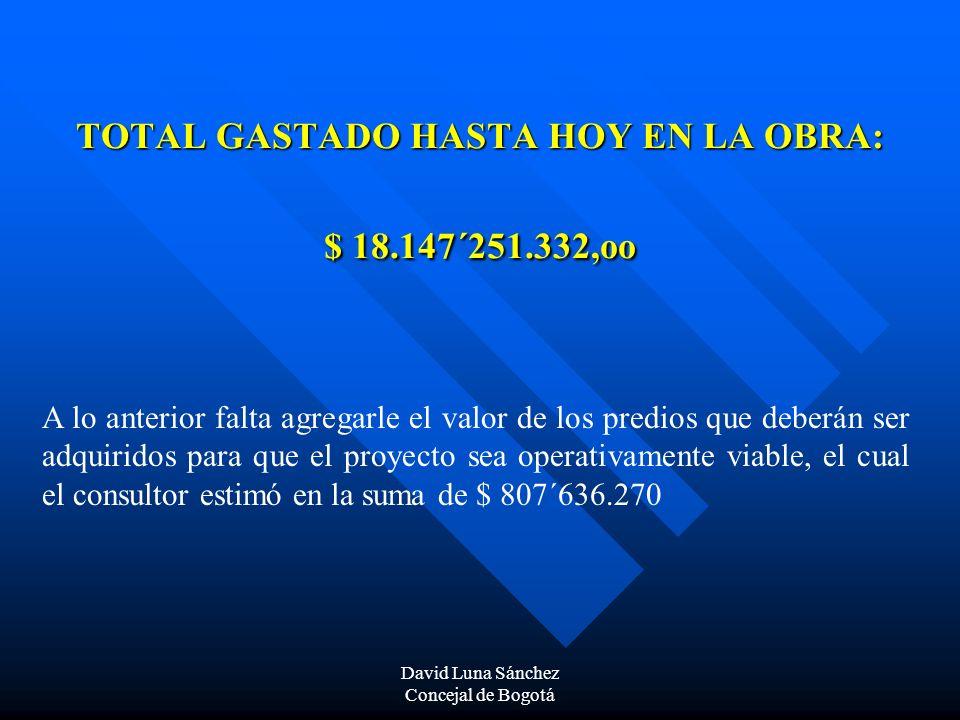 David Luna Sánchez Concejal de Bogotá TOTAL GASTADO HASTA HOY EN LA OBRA: $ 18.147´251.332,oo A lo anterior falta agregarle el valor de los predios qu
