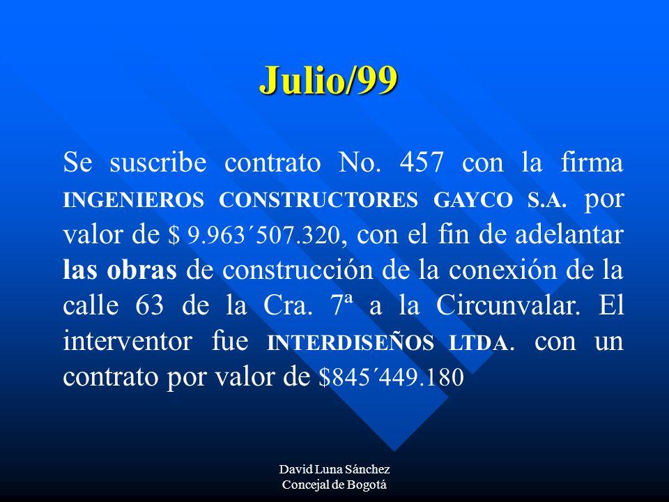 David Luna Sánchez Concejal de Bogotá Julio/99 Se suscribe contrato No. 457 con la firma INGENIEROS CONSTRUCTORES GAYCO S.A. por valor de $ 9.963´507.