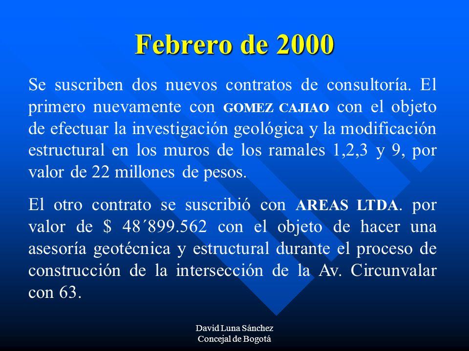 David Luna Sánchez Concejal de Bogotá Marzo y abril de 2000 Se presentan intensas lluvias que producen desbordamiento de la Quebrada LAS DELICIAS, ubicada en la parte central de las vías y estructura de los puentes, lo que hace necesario contratar los estudios y diseños para la canalización de la quebrada.