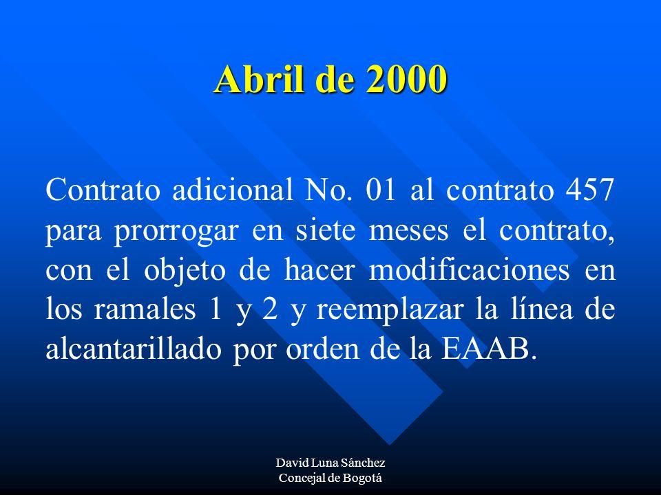 David Luna Sánchez Concejal de Bogotá Octubre de 2000 Se suscribe contrato con INTERVENTORIAS Y DISEÑOS LTDA.