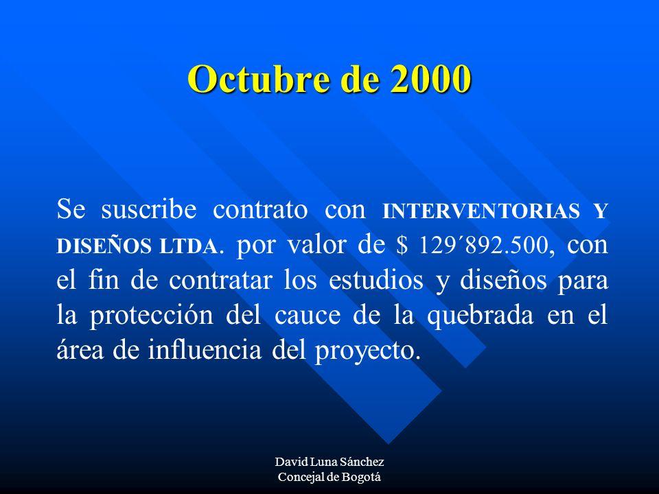 David Luna Sánchez Concejal de Bogotá Octubre de 2000 Se suscribe contrato con INTERVENTORIAS Y DISEÑOS LTDA. por valor de $ 129´892.500, con el fin d