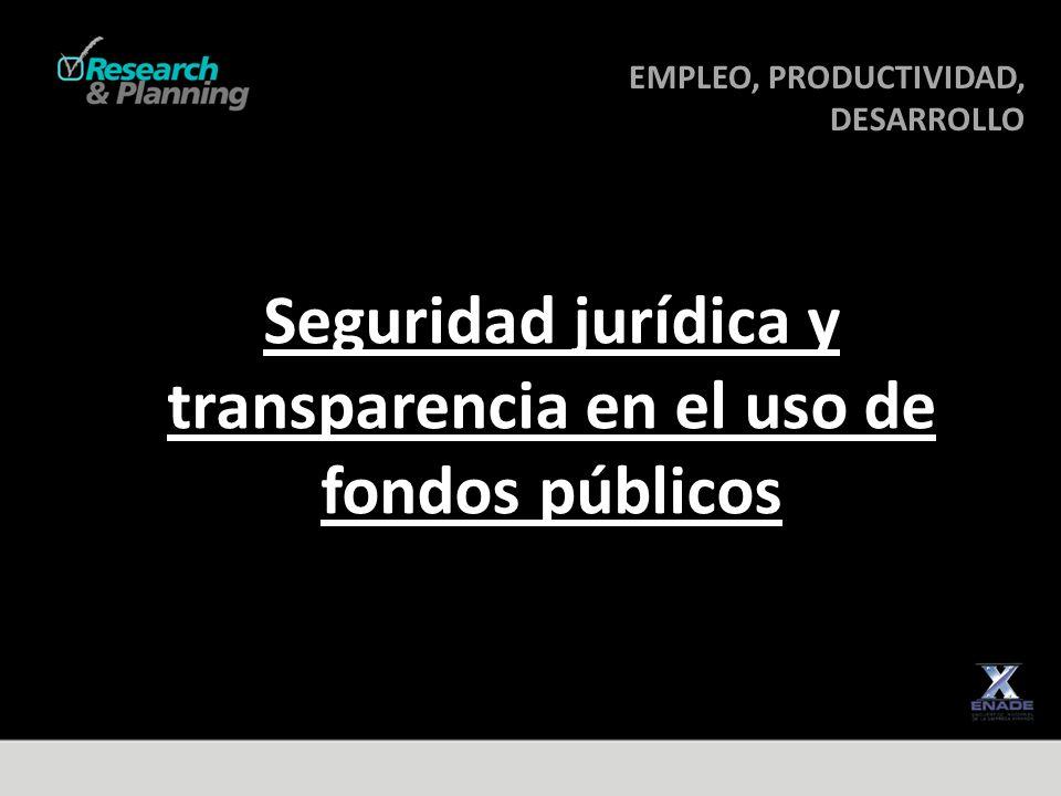 EMPLEO, PRODUCTIVIDAD, DESARROLLO DESARROLLO Seguridad jurídica y transparencia en el uso de fondos públicos