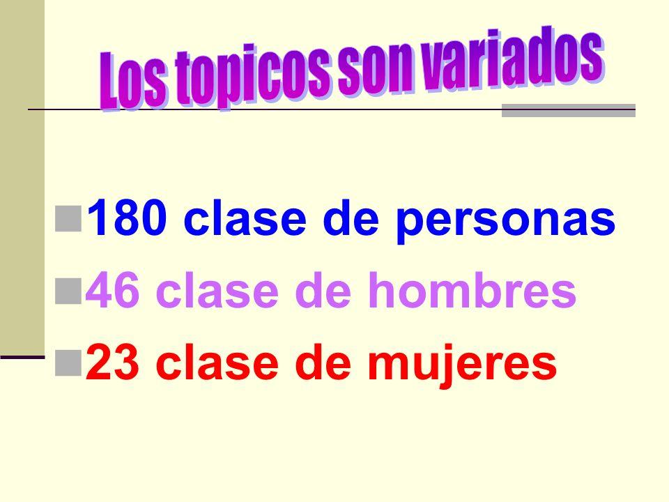 180 clase de personas 46 clase de hombres 23 clase de mujeres
