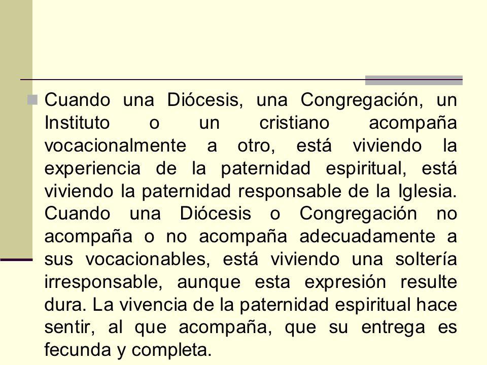 Cuando una Diócesis, una Congregación, un Instituto o un cristiano acompaña vocacionalmente a otro, está viviendo la experiencia de la paternidad espi