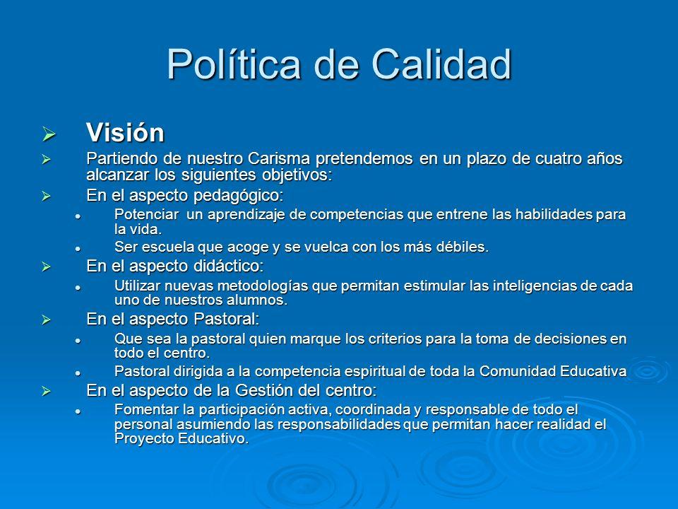 Política de Calidad Visión Visión Partiendo de nuestro Carisma pretendemos en un plazo de cuatro años alcanzar los siguientes objetivos: Partiendo de