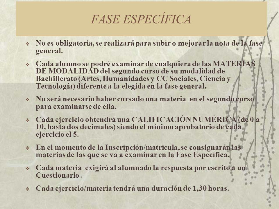 FASE ESPECÍFICA No es obligatoria, se realizará para subir o mejorar la nota de la fase general.