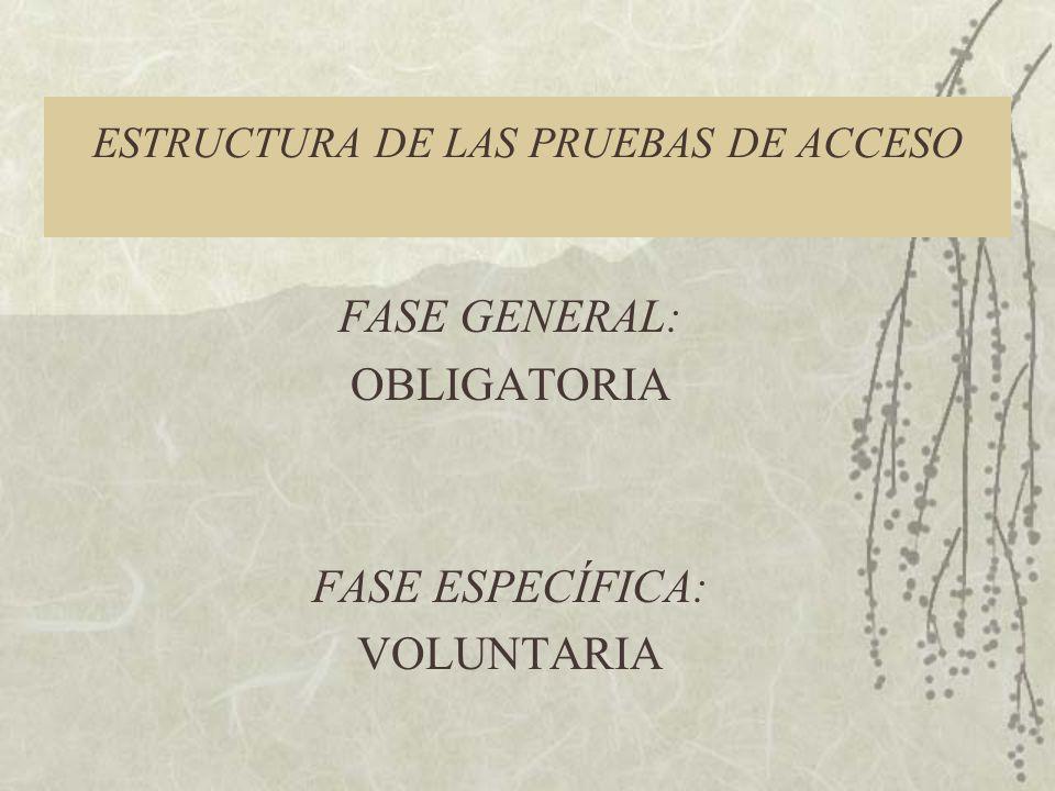 ESTRUCTURA DE LAS PRUEBAS DE ACCESO FASE GENERAL: OBLIGATORIA FASE ESPECÍFICA: VOLUNTARIA