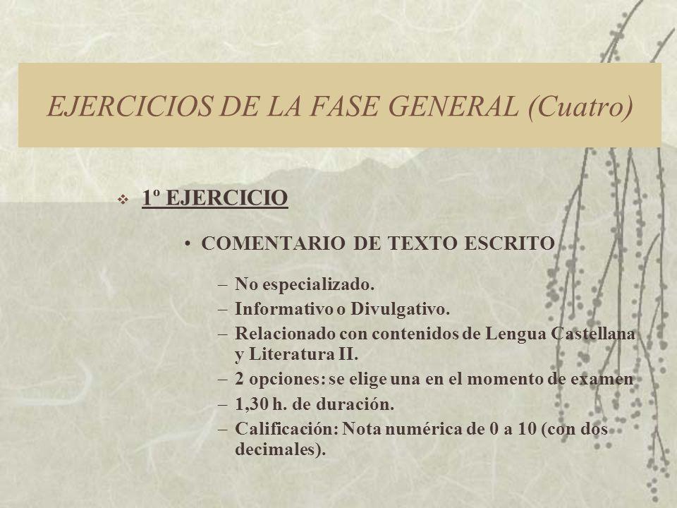 EJERCICIOS DE LA FASE GENERAL (Cuatro) 1º EJERCICIO COMENTARIO DE TEXTO ESCRITO –No especializado.