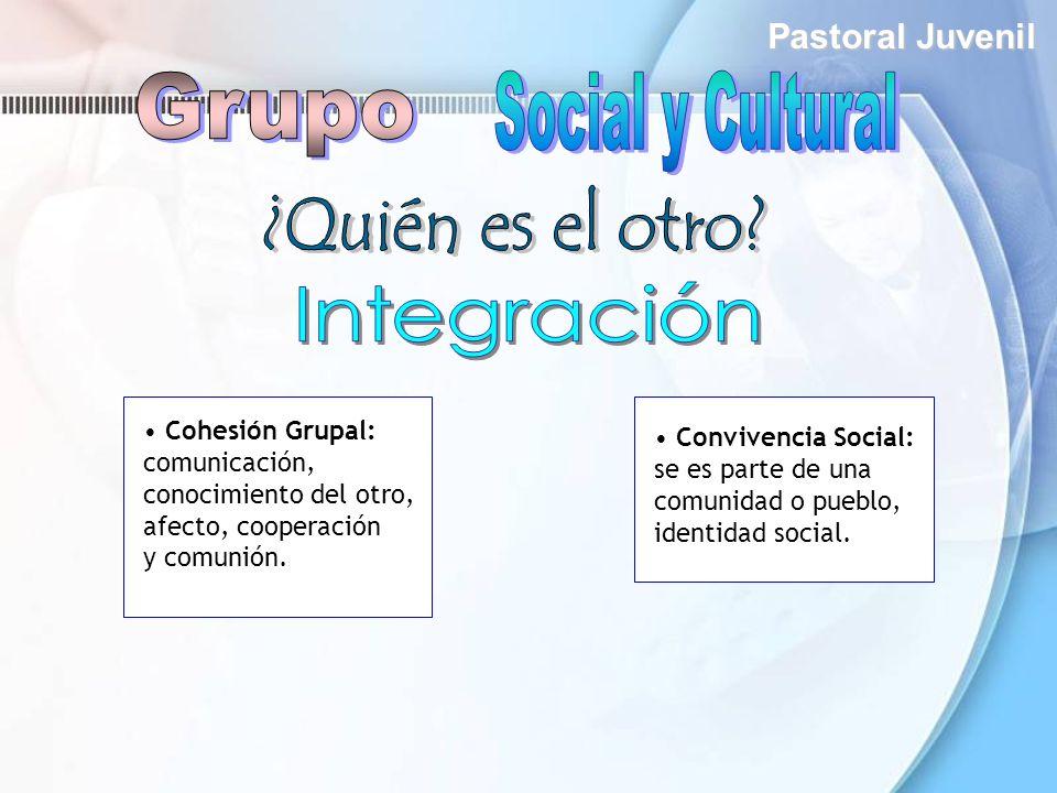 Pastoral Juvenil Convivencia Social: se es parte de una comunidad o pueblo, identidad social. Cohesión Grupal: comunicación, conocimiento del otro, af