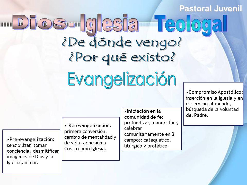 Pastoral Juvenil Re-evangelización: primera conversión, cambio de mentalidad y de vida, adhesión a Cristo como Iglesia. Pre-evangelización: sensibiliz