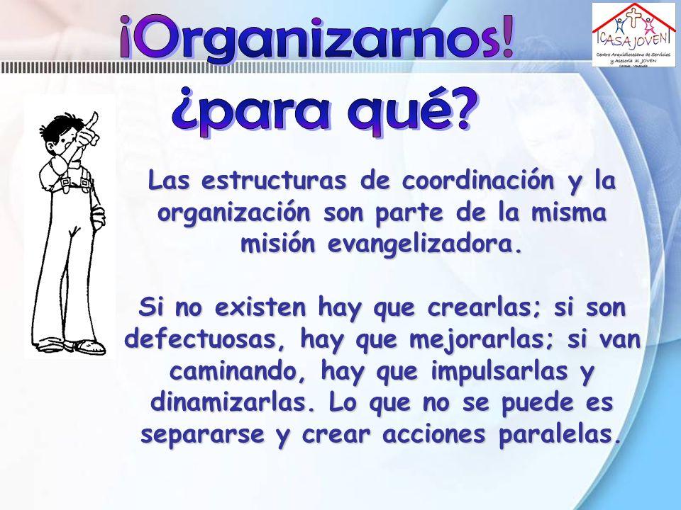 Las estructuras de coordinación y la organización son parte de la misma misión evangelizadora. Si no existen hay que crearlas; si son defectuosas, hay