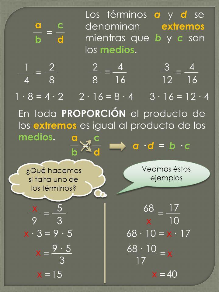 3 4 16 En toda PROPORCIÓN el producto de los extremos es igual al producto de los medios. c d a b = = 1 4 2 8 = 2 8 4 16 = Los términos a y d se denom