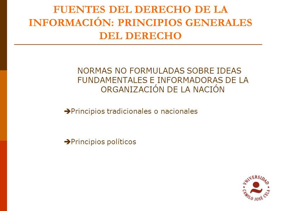 FUENTES DEL DERECHO DE LA INFORMACIÓN: PRINCIPIOS GENERALES DEL DERECHO NORMAS NO FORMULADAS SOBRE IDEAS FUNDAMENTALES E INFORMADORAS DE LA ORGANIZACI