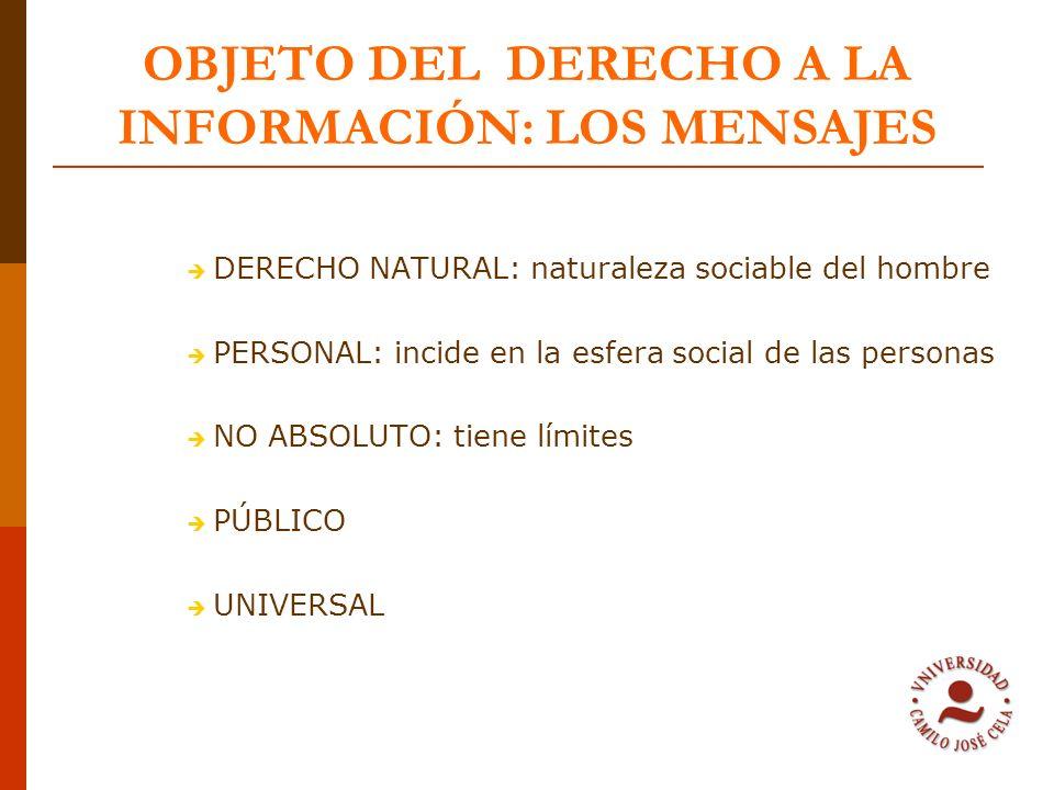 OBJETO DEL DERECHO A LA INFORMACIÓN: LOS MENSAJES DERECHO NATURAL: naturaleza sociable del hombre PERSONAL: incide en la esfera social de las personas