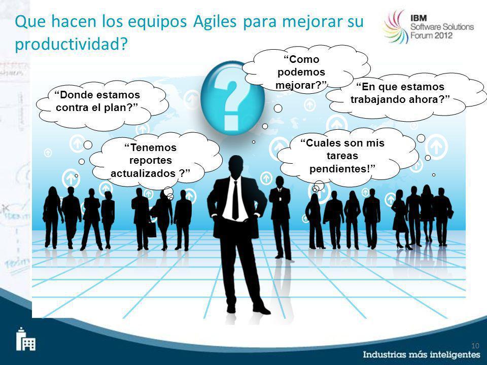 10 Que hacen los equipos Agiles para mejorar su productividad? Donde estamos contra el plan? En que estamos trabajando ahora? Cuales son mis tareas pe