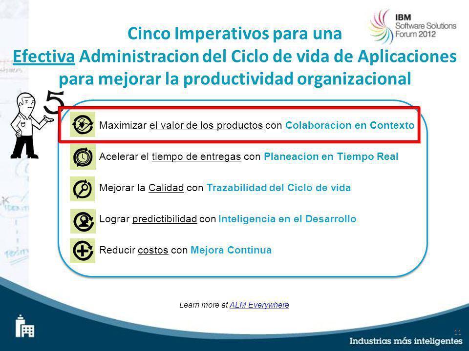 11 Cinco Imperativos para una Efectiva Administracion del Ciclo de vida de Aplicaciones para mejorar la productividad organizacional Learn more at ALM
