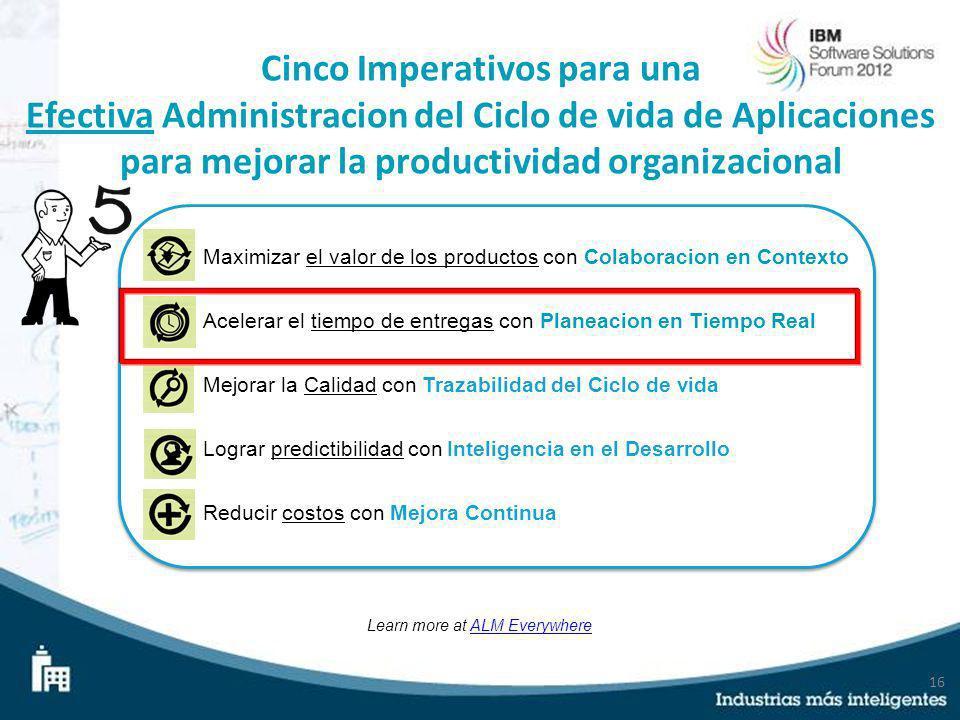 16 Cinco Imperativos para una Efectiva Administracion del Ciclo de vida de Aplicaciones para mejorar la productividad organizacional Learn more at ALM
