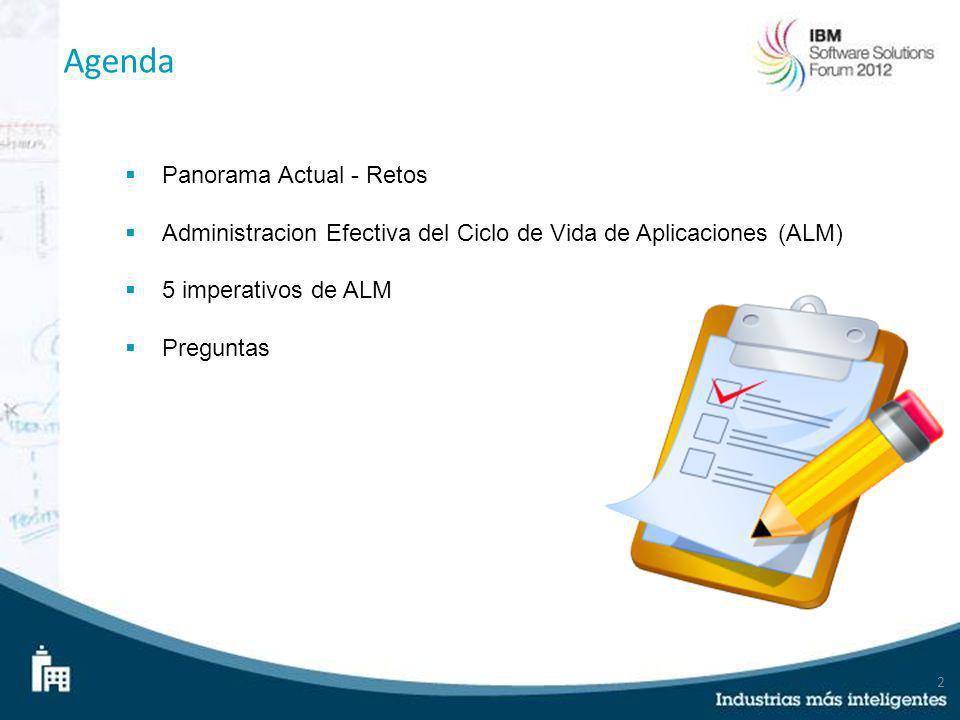 2 Agenda Panorama Actual - Retos Administracion Efectiva del Ciclo de Vida de Aplicaciones (ALM) 5 imperativos de ALM Preguntas