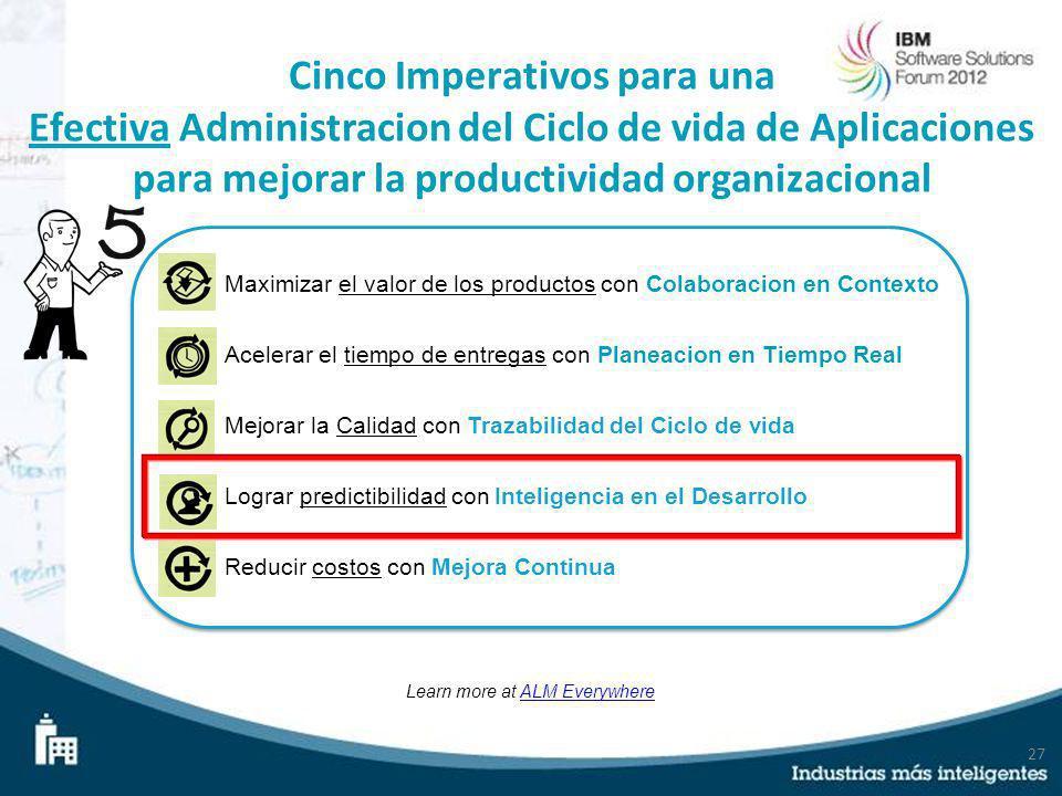 27 Cinco Imperativos para una Efectiva Administracion del Ciclo de vida de Aplicaciones para mejorar la productividad organizacional Learn more at ALM