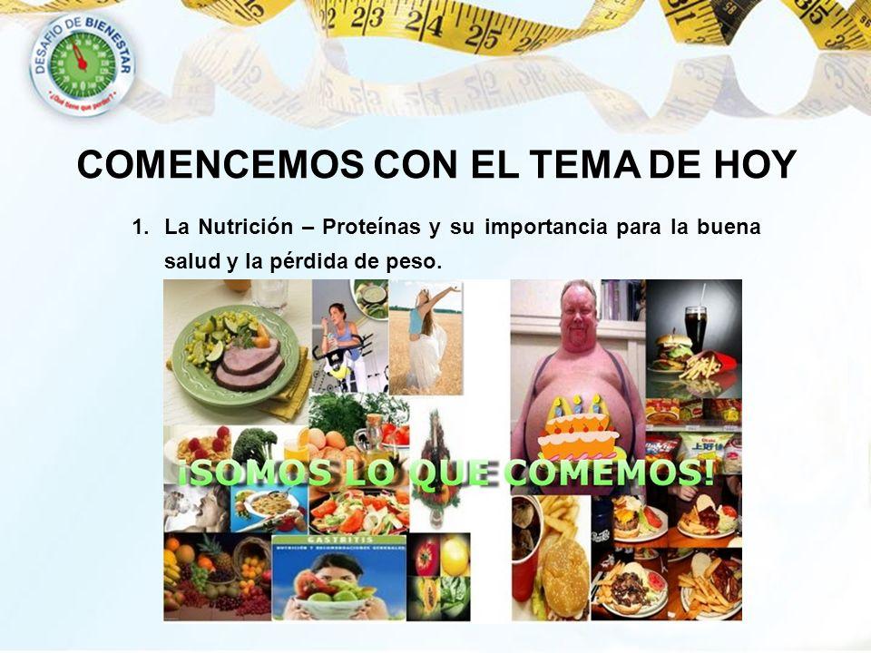COMENCEMOS CON EL TEMA DE HOY 1.La Nutrición – Proteínas y su importancia para la buena salud y la pérdida de peso.