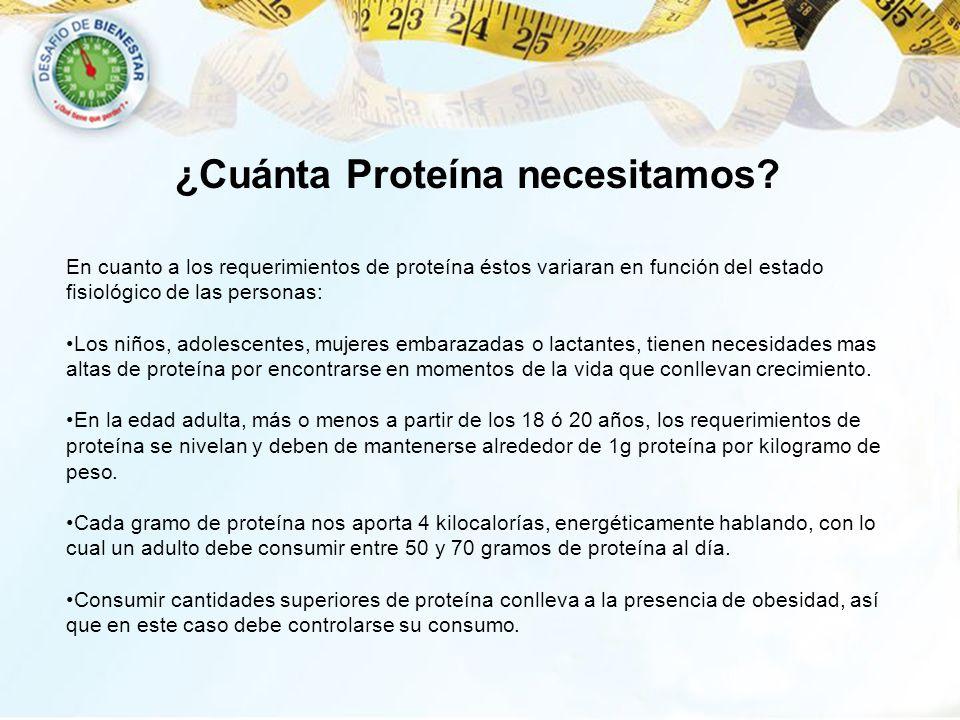 ¿Cuánta Proteína necesitamos? En cuanto a los requerimientos de proteína éstos variaran en función del estado fisiológico de las personas: Los niños,