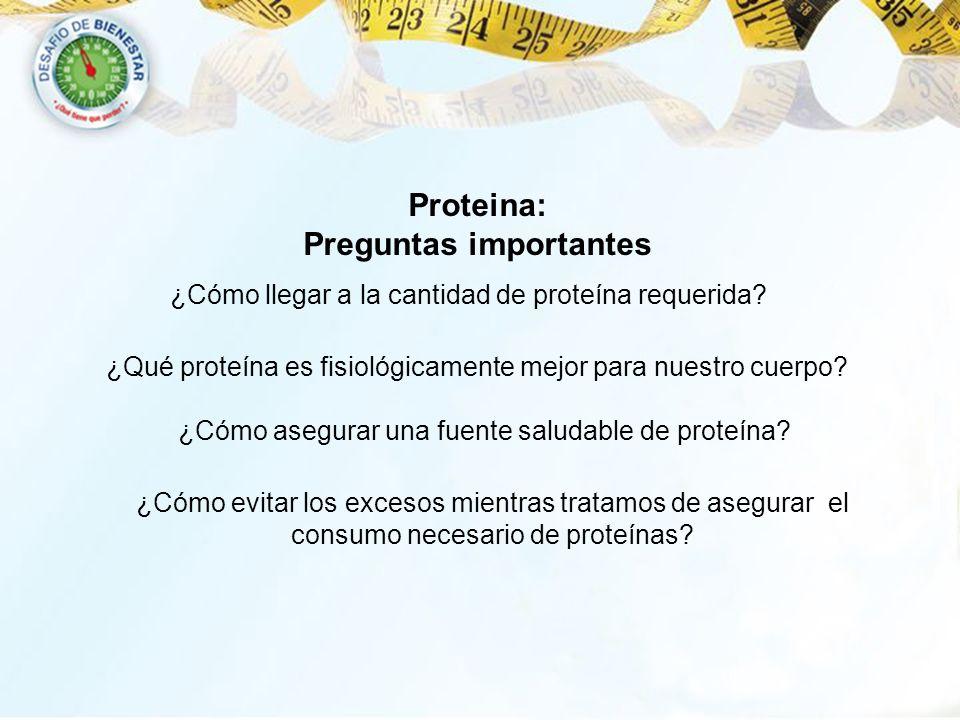 ¿Cómo llegar a la cantidad de proteína requerida? ¿Qué proteína es fisiológicamente mejor para nuestro cuerpo? ¿Cómo asegurar una fuente saludable de