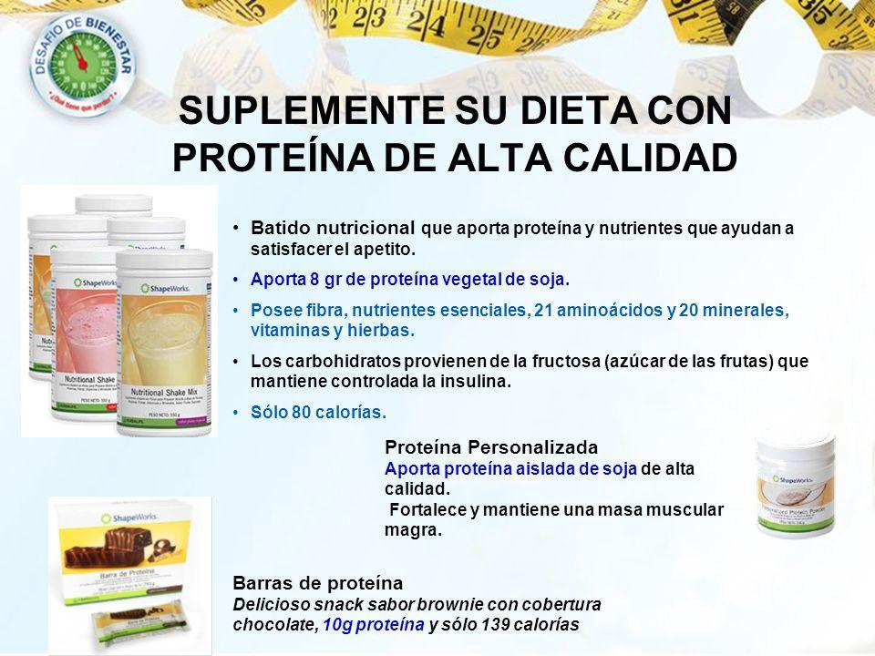 SUPLEMENTE SU DIETA CON PROTEÍNA DE ALTA CALIDAD Batido nutricional que aporta proteína y nutrientes que ayudan a satisfacer el apetito. Aporta 8 gr d