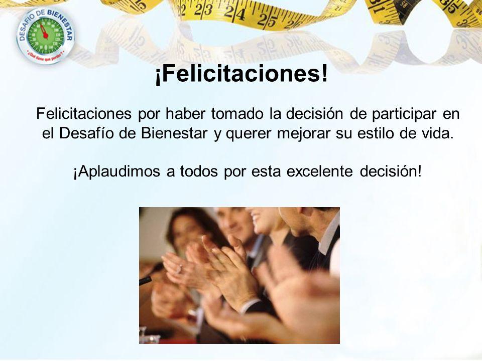 ¡Felicitaciones! Felicitaciones por haber tomado la decisión de participar en el Desafío de Bienestar y querer mejorar su estilo de vida. ¡Aplaudimos